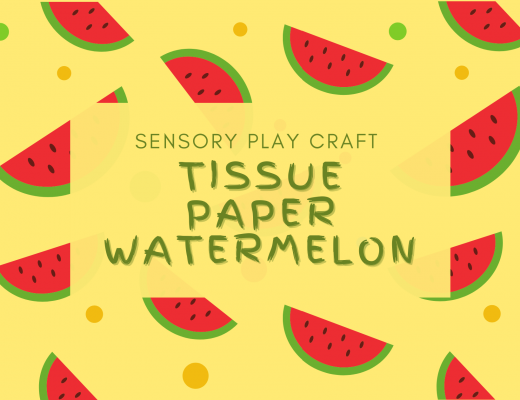 tissue paper watermelon sensory play craft